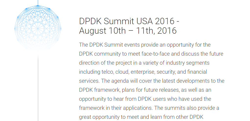 DPDK(DATA PLANE DEVELOPMENT KIT) Summit USA 2016開催